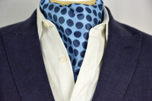 Bubble Blue Sterling Ascot Tie