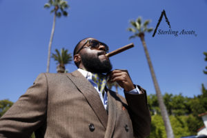 The Botanical Sage Sterling Ascot: The Look: Green ascot with a brown double breasted blazer, dark gray waist coat, and blue dress shirt. Only available at SterlingAscots.com